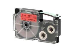 Casio XR-9RD1, 9mm x 8m, černý tisk/červený podklad, originální páska