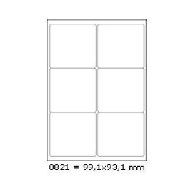 Samolepicí etikety 99,1 x 93,1 mm, 6 etiket, A4, 100 listů