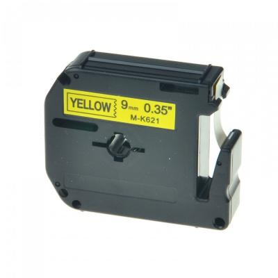 Kompatibilní páska s Brother MK-621, 9mm x 8m, černý tisk / žlutý podklad