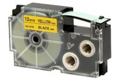 Casio XR-12YW1, 12mm x 8m, černý tisk/žlutý podklad, originální páska