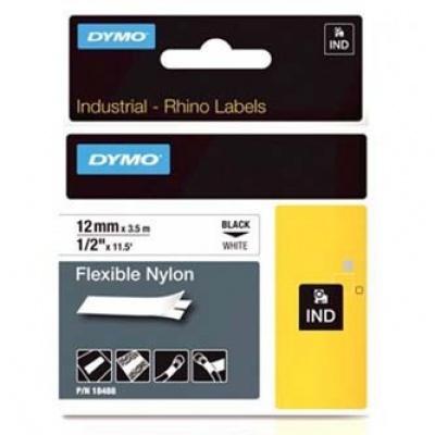 Dymo Rhino 18488, S0718100, 12mm x 3,5m černý tisk / bílý podklad, originální páska
