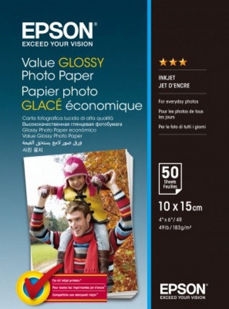 Epson Value Glossy Photo Paper, bílý lesklý foto papír, 10x15cm, 183 g/m2, 50 ks, C13S400038