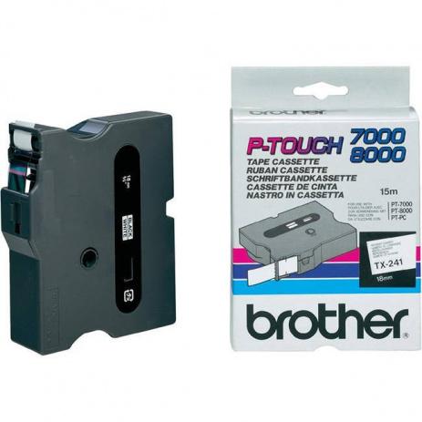Brother TX-241, 18mm x 15m, black text / white tape, original tape