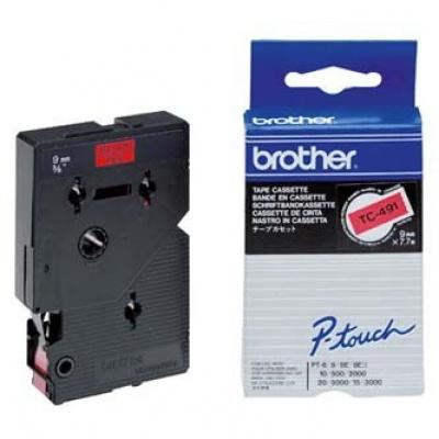 Brother TC-491, 9mm x 7,7m, černý tisk / červený podklad, originální páska