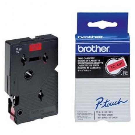 Brother TC-491, 9mm x 7,7m, text negru / fundal rosu, banda original