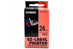 Casio XR-24RD1, 24mm x 8m, černý tisk/červený podklad, originální páska