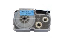 Kompatibilní páska s Casio XR-18BU1, 18mm x 8m černý tisk / modrý podklad