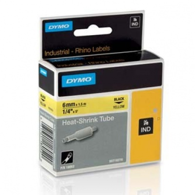 Dymo Rhino 18052, S0718270, 6mm x 1,5m černý tisk / žlutý podklad, originální páska