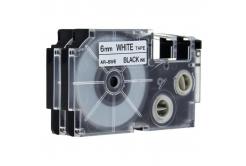 Kompatibilní páska s Casio XR-6WE, 6mm x 8m černý tisk / bílý podklad