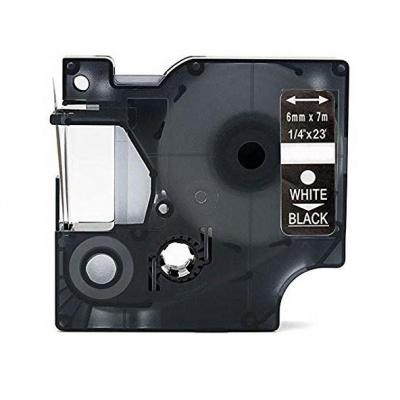 Dymo 43621, 6mm x 7m, bílý tisk / černý podklad, kompatibilní páska