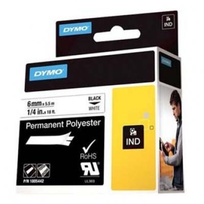 Dymo Rhino 1805442, 6mm x 5,5m, černý tisk/bílý podklad, originální páska