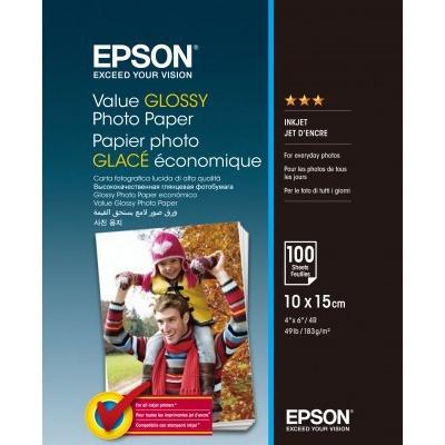 Epson C13S400039 Value Glossy Photo Paper, lesklý bílý foto papír, 10x15cm, 183 g/m2, 100 ks, C13S400039