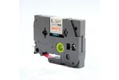 Kompatibilní páska s Brother TZ-212 / TZe-212, 6mm x 8m, červený tisk / bílý podklad