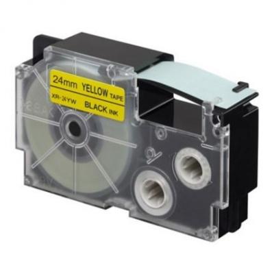 Kompatibilní páska s Casio XR-24YW1, 24mm x 8m, černý tisk / žlutý podklad