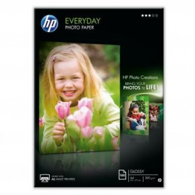 HP Q2510A Everyday Glossy Photo Paper, foto papír, lesklý, bílý, A4, 200 g/m2, 100 ks, Q2510A, inkoust