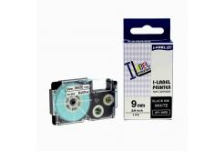 Kompatibilná páska s Casio XR-9WE1, 9mm x 8m, čierna tlač/biely podklad