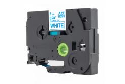 Kompatibilní páska s Brother TZ-FX213 / TZe-FX213, 6mm x 8m, flexi, modrý tisk / bílý podk
