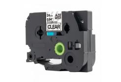 Kompatibilní páska s Brother TZ-FX151 / TZe-FX151, 24mm x 8m, flexi, černý tisk / průhledn