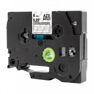 Kompatibilní páska s Brother TZ-S115 / TZe-S115, 6mm x 8m, extr.adh. bílý tisk / průhledný podklad