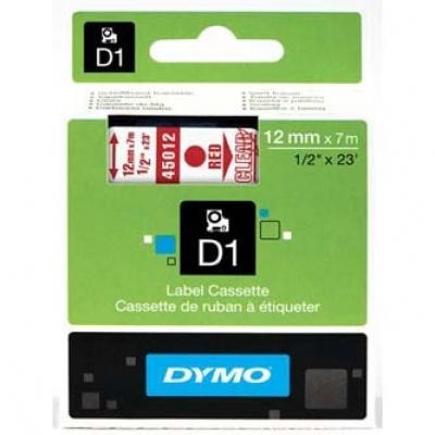 Dymo D1 45012, S0720520, 12mm x 7m, červený tisk / průhledný podklad, originální páska
