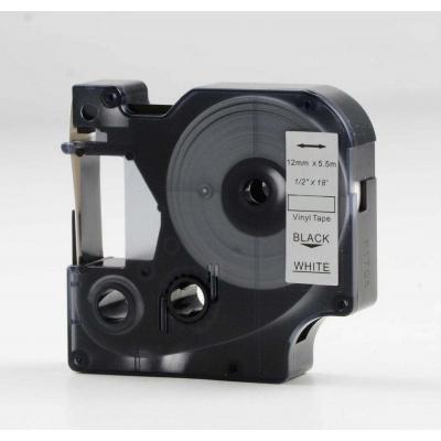Kompatibilní páska s Dymo 18444, 12mm x 5, 5m černý tisk / bílý podklad, vinyl