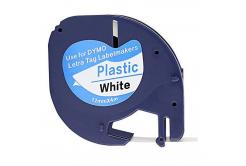 Kompatibilní páska s Dymo 59422, S0721560 / 91221, S0721660 LetraTag 12mm x 4m, černý tisk / bílý podklad