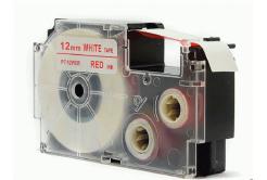 Kompatibilní páska s Casio XR-12WER 12mm x 8m červený tisk / bílý podklad