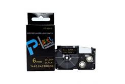 Kompatibilní páska s Casio XR-6BKG 6mm x 8m zlatý tisk / černý podklad