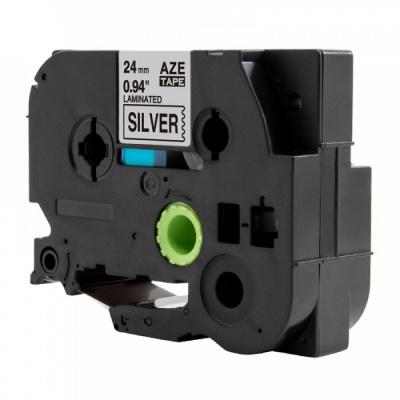Kompatibilní páska s Brother TZ-951 / TZe-951, 24mm x 8m, černý tisk / stříbrný podklad