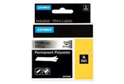 Dymo Rhino 18486, S0718180, 12mm x 5,5m černý tisk / metalický podklad, originální páska