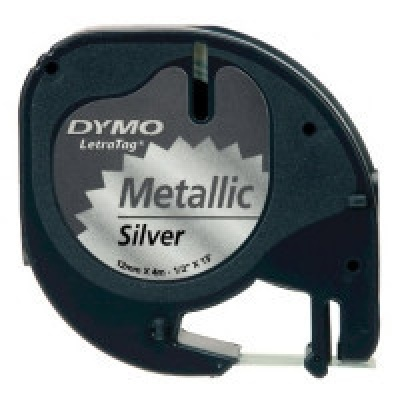 Dymo LetraTag 91208 S0721730 12mm x 4m černý tisk/stříbrný podklad originální páska metalická