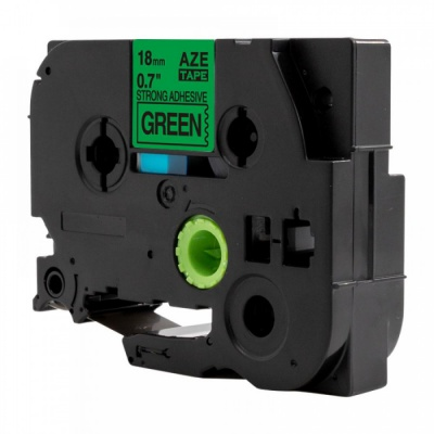 Kompatibilní páska s Brother TZ-S741 / TZe-S741, 18mm x 8m, extr.adh. černý tisk / zelený
