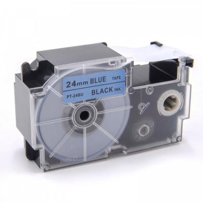 Kompatibilní páska s Casio XR-24BU1, 24mm x 8m, černý tisk / modrý podklad