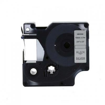 Kompatibilní páska s Dymo 45812, 19mm x 7m, černý tisk / stříbrný podklad
