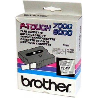 Brother TX-151, 24mm x 15m, černý tisk / průhledný podklad