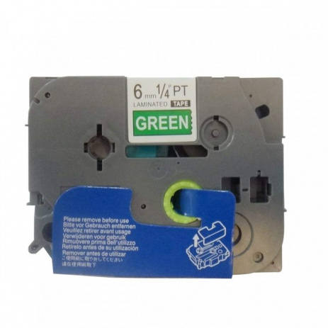 Taśma zamiennik Brother TZ-715 / TZe-715, 6mm x 8m, biały druk / zielony podkład