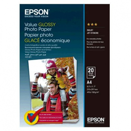 Epson Value Glossy Photo Paper, bílý lesklý foto papír, A4, 200 g/m2, 20 ks, C13S400035