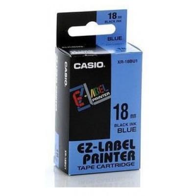 Casio XR-18BU1, 18mm x 8m, černý tisk/modrý podklad, originální páska