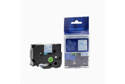 Kompatibilní páska s Brother TZ-253 / TZe-253, 24mm x 8m, modrý tisk / bílý podklad
