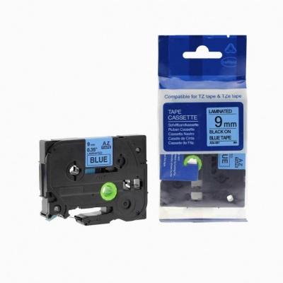 Kompatibilní páska s Brother TZ-521 / TZe-521, 9mm x 8m, černý tisk / modrý podklad