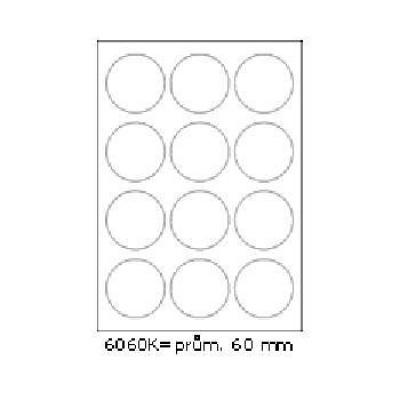 Samolepicí etikety 60 x 60 mm, 12 etiket, A4, 100 listů