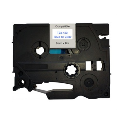Kompatibilní páska s Brother TZ-123 / TZe-123, 9mm x 8m, modrý tisk / průhledný podklad