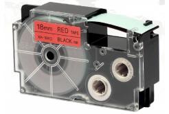 Kompatibilní páska s Casio XR-18RD1, 18mm x 8m černý tisk / červený podklad