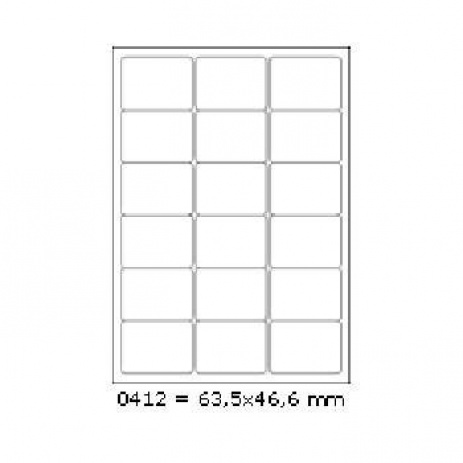 Selfadhesive labels 63,5 x 46,6 mm, 18 labels, A4, 100 sheets
