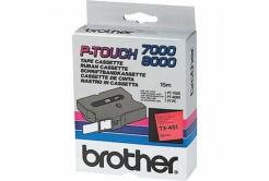 Brother TX-451, 24mm x 15m, czarny druk / czerwony podkład, taśma oryginalna