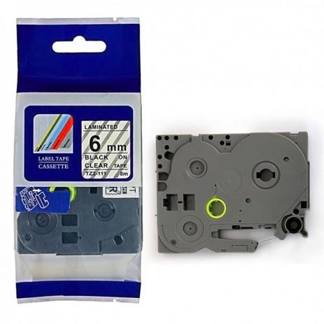 Kompatibilná páska s Brother TZ-111 / TZe-111, 6mm x 8m, čierna tlač / priehľadný podklad