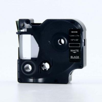 Kompatibilní páska s Dymo 53721, 24mm x 7m, bílý tisk / černý podklad