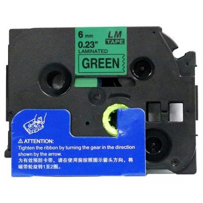 Kompatibilní páska s Brother TZ-711 / TZe-711, 6mm x 8m, černý tisk / zelený podklad