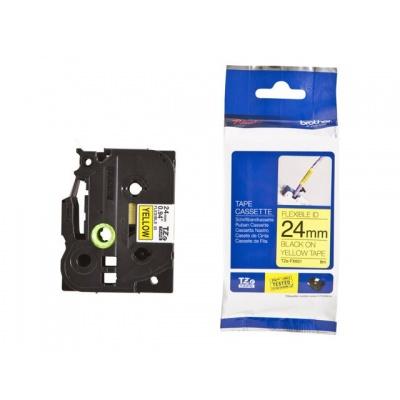 Kompatibilní páska s Brother TZ-FX651/TZe-FX651 24mm x 8m, flexi, černý tisk/žlutý podklad