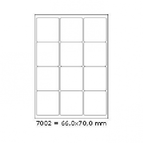 Selfadhesive labels 66 x 70 mm, 12 labels, A4, 100 sheets